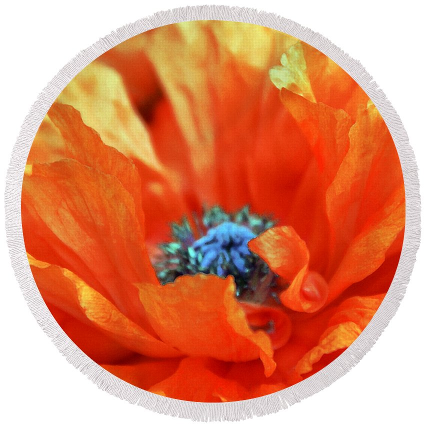 Papaver Somniferum. Opium Round Beach Towel featuring the photograph Poppy by Angelina Tamez
