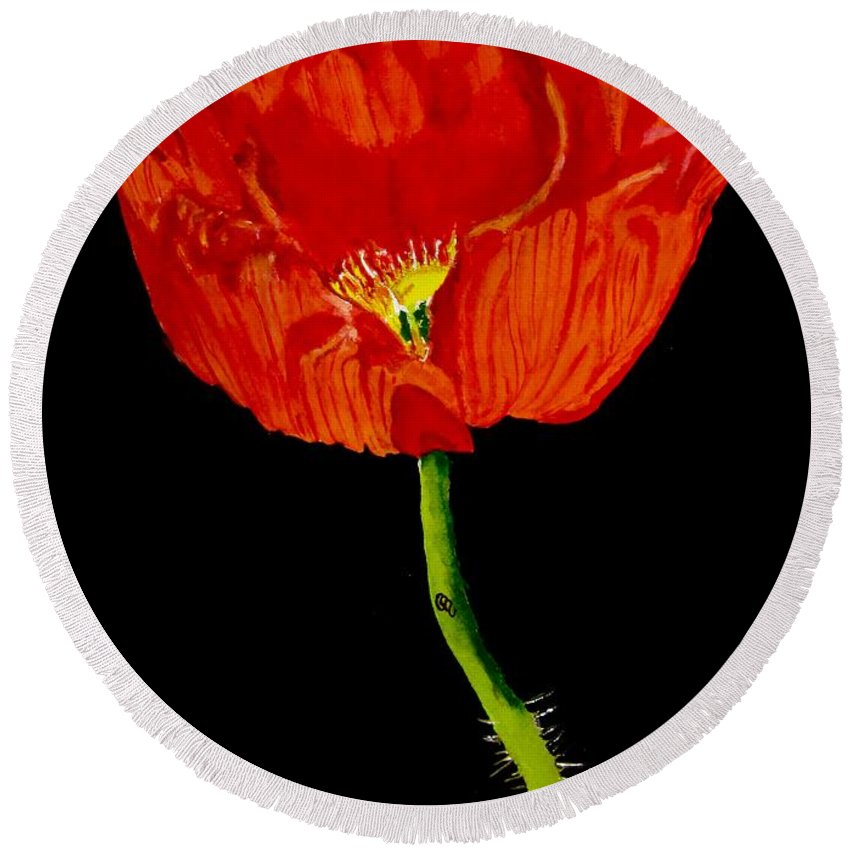 Poppy Painting Round Beach Towel featuring the painting Poppy by Carol Blackhurst