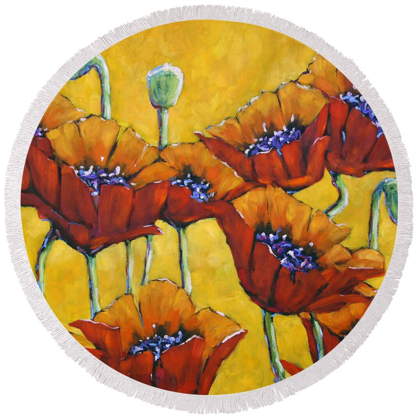 Prankearts Round Beach Towel featuring the painting Poppy Craze By Prankearts by Richard T Pranke