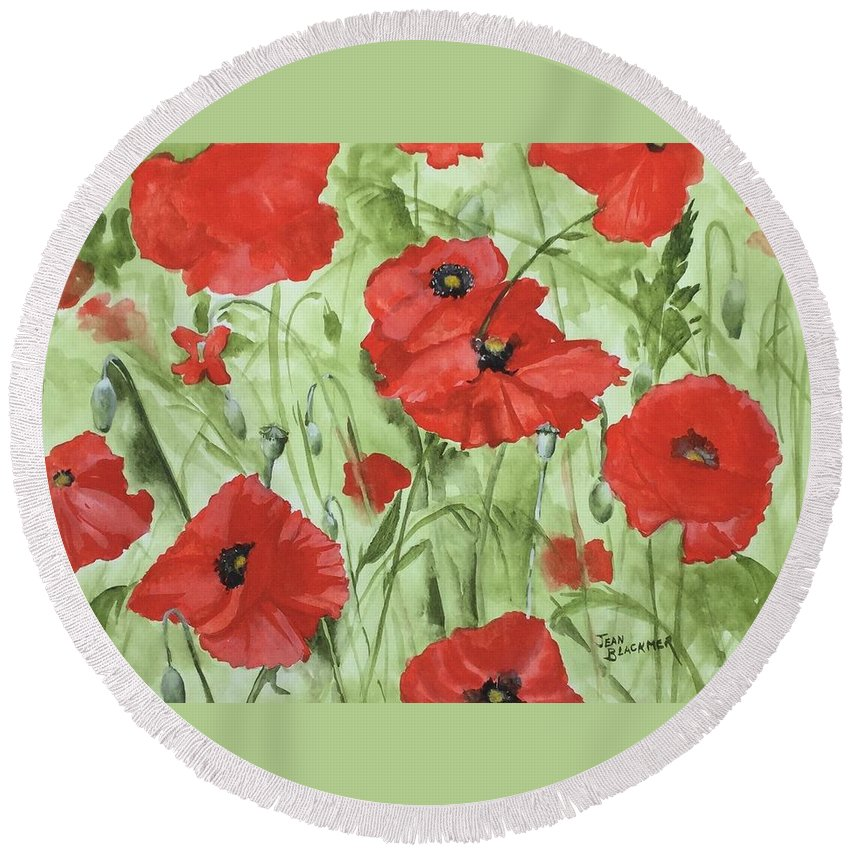 Red Round Beach Towel featuring the painting Poppy Field 1 by Jean Blackmer