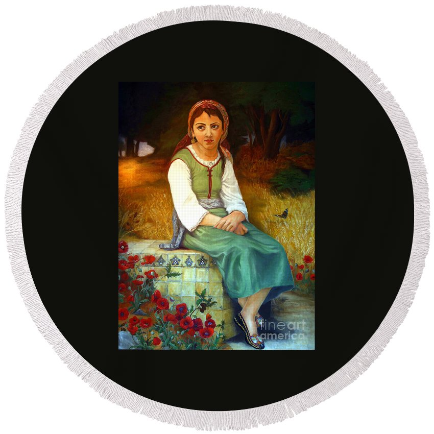 Landscape Painting Round Beach Towel featuring the painting Poppy Field by Portraits By NC