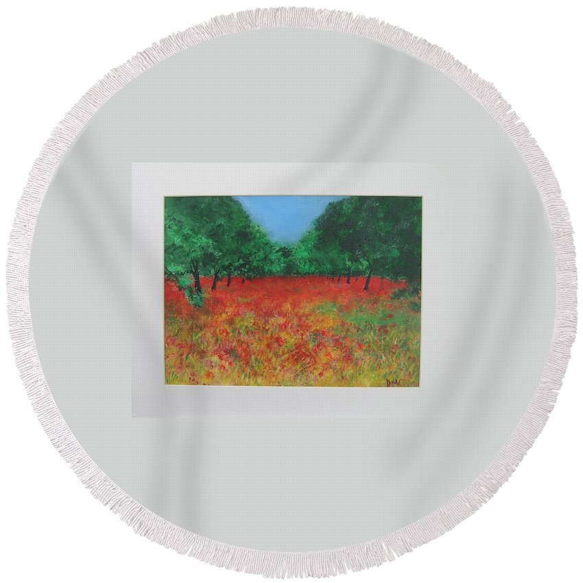 Poppy Round Beach Towel featuring the painting Poppy Field In Ibiza by Lizzy Forrester