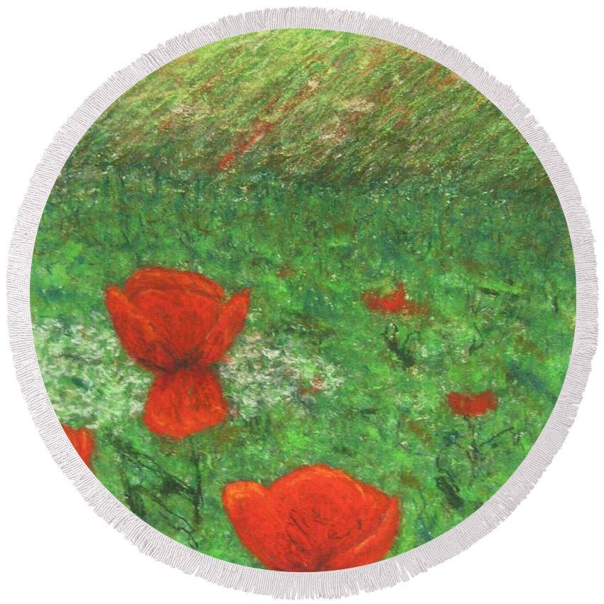 Nature Round Beach Towel featuring the pastel Poppy In Country by Stella Velka