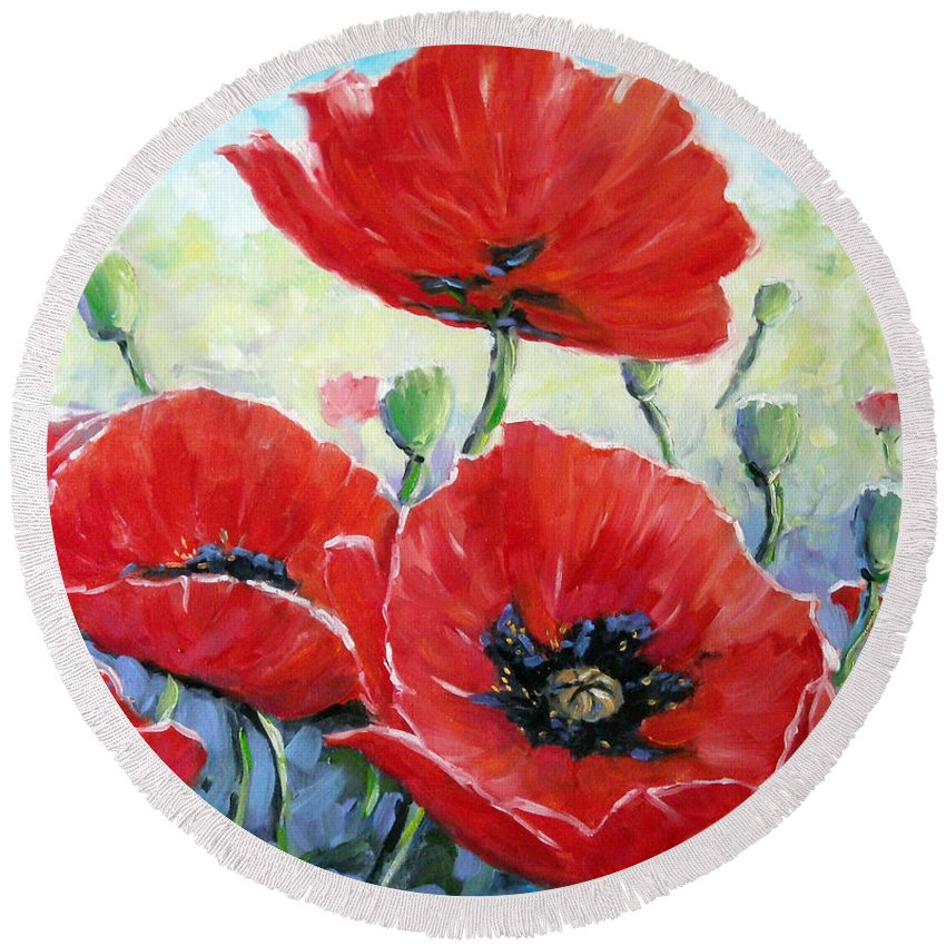 Art Round Beach Towel featuring the painting Poppy Love Floral Scene by Richard T Pranke
