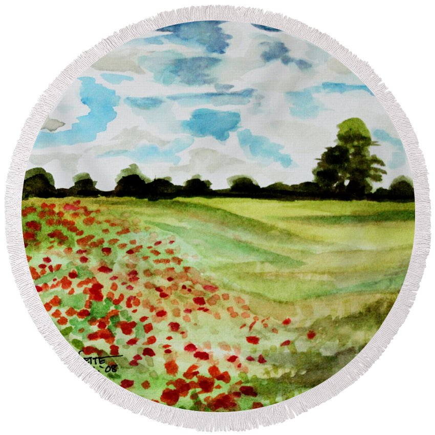 Landscape Round Beach Towel featuring the painting Poppy Meadow by Elizabeth Robinette Tyndall