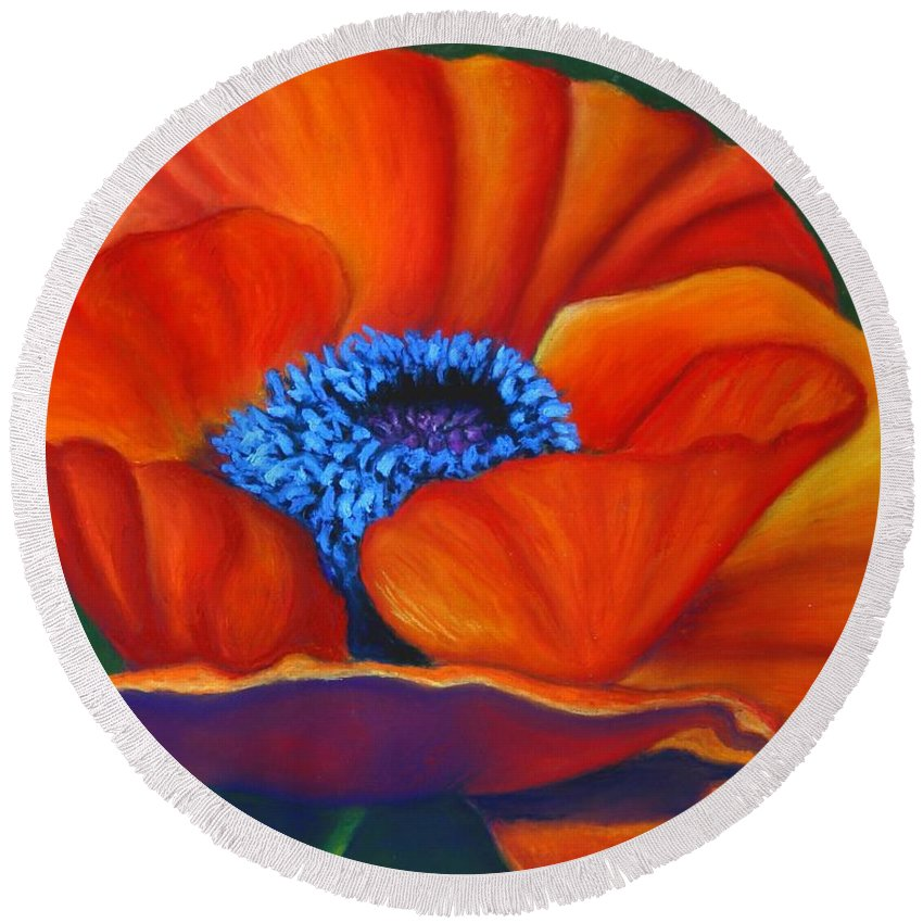 Red Flower Round Beach Towel featuring the painting Poppy Pleasure by Minaz Jantz