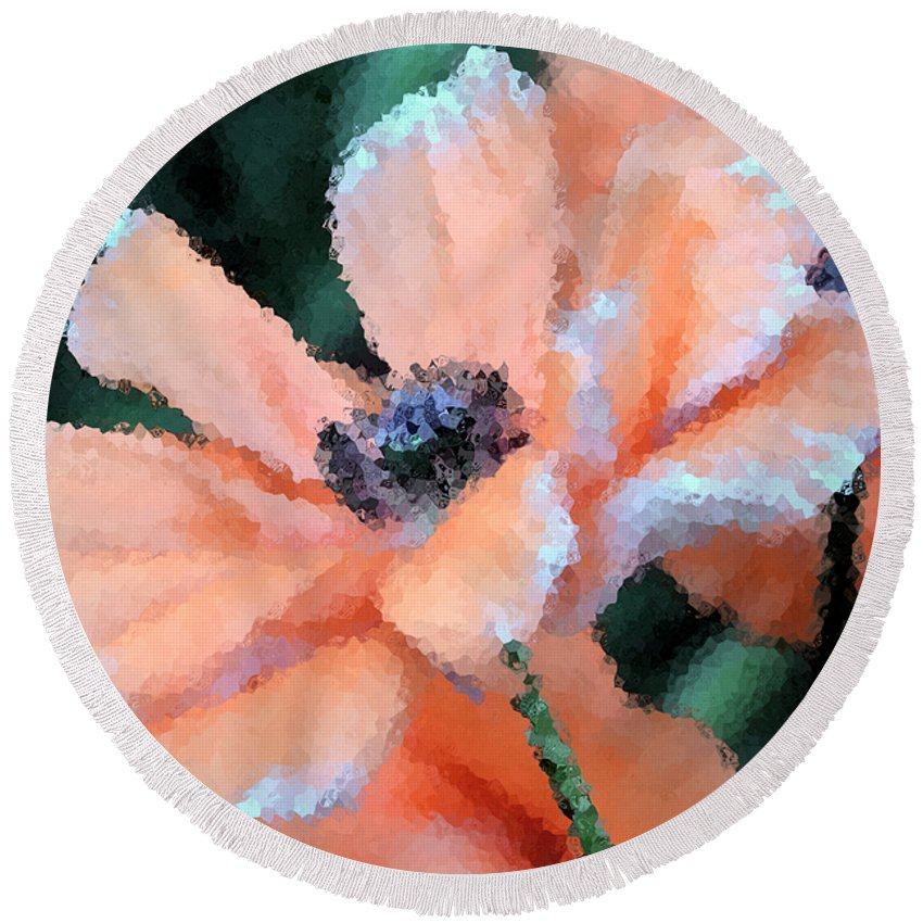 Papaver Somniferum. Opium Round Beach Towel featuring the photograph Poppy Primadonna by Angelina Vick