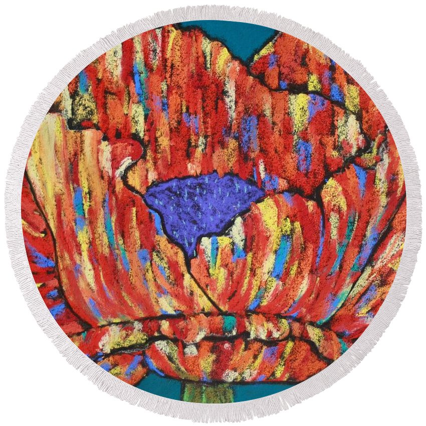 Poppy Round Beach Towel featuring the painting Poppy2 by Melinda Etzold