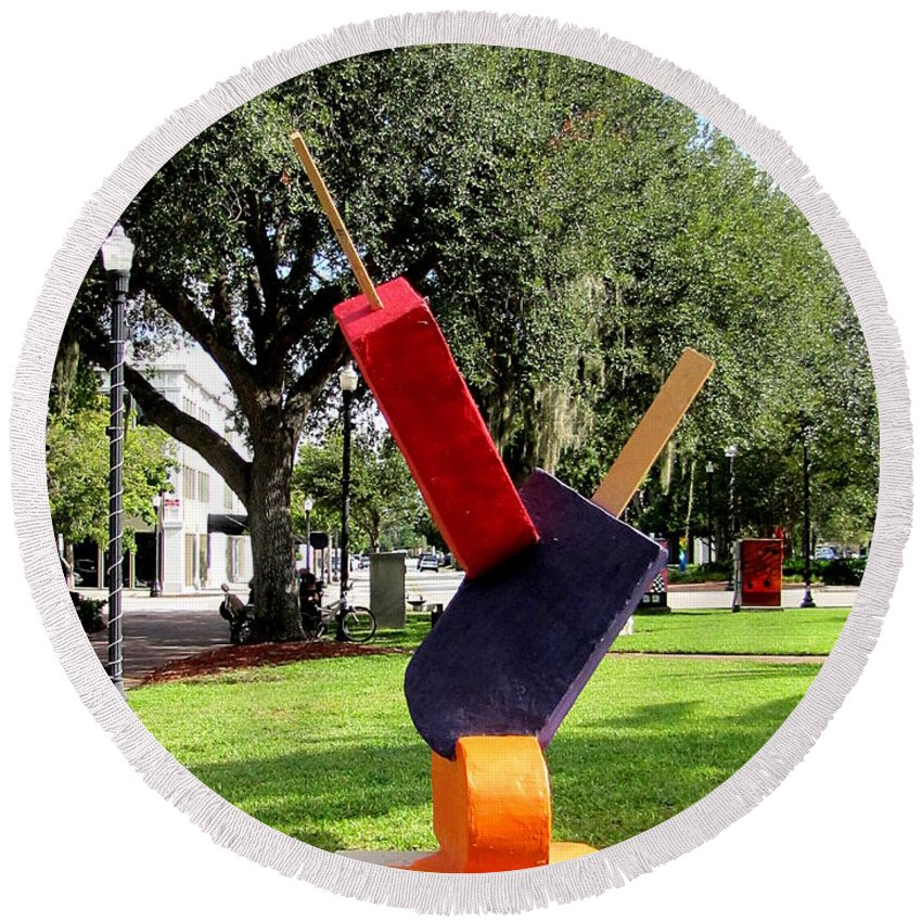 Statues Round Beach Towel featuring the photograph Popsicles In The Park 000 by Chris Mercer