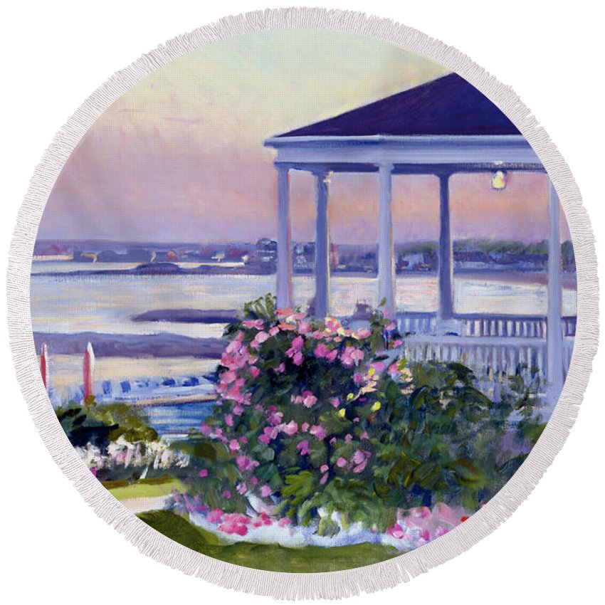 Colony Hotel Round Beach Towel featuring the painting Porch At Sunet by Candace Lovely