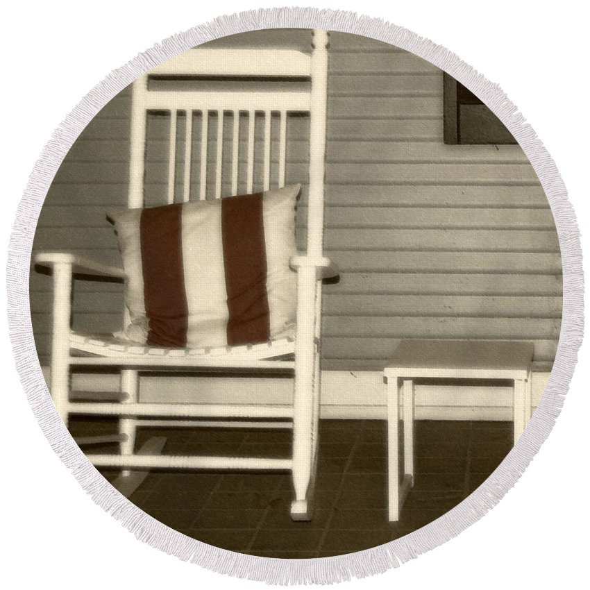 Rocking Chair Round Beach Towel featuring the photograph Porch Rocker by Debbi Granruth