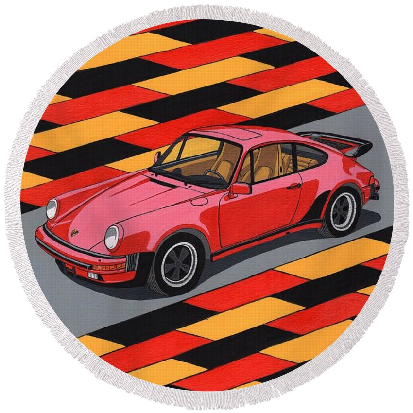 Car Round Beach Towel featuring the painting Porsche 911 Turbo by Paul Cockram