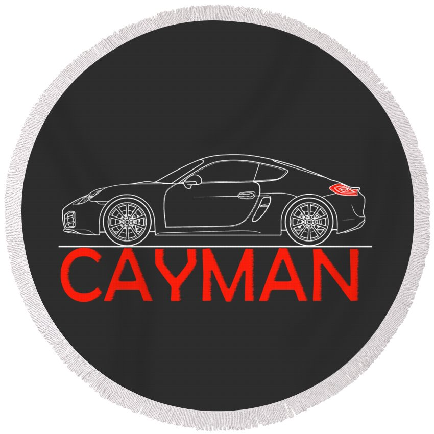 Porsche Cayman Phone Case Round Beach Towel featuring the photograph Porsche Cayman Phone Case by Mark Rogan