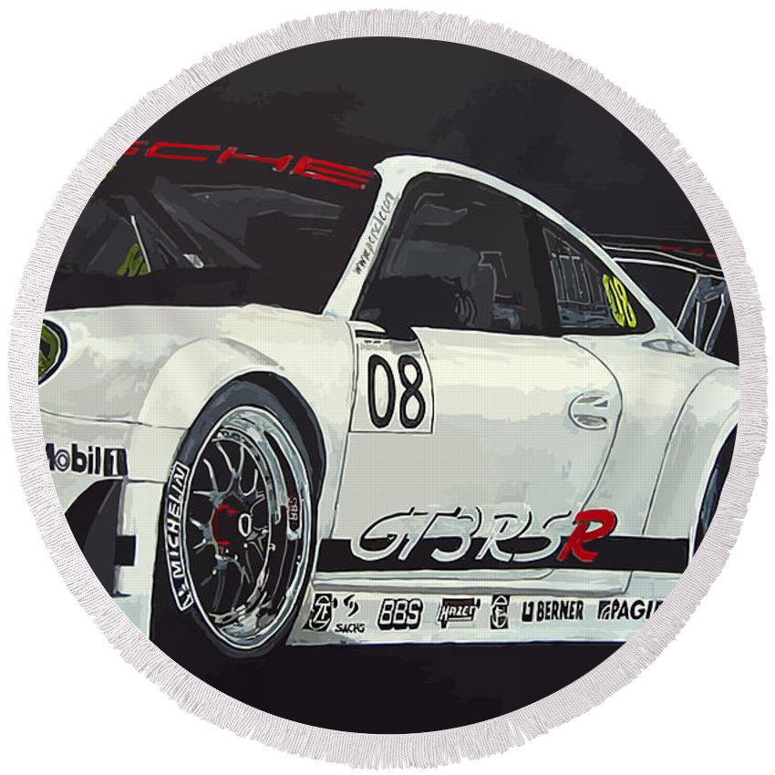 Car Round Beach Towel featuring the painting Porsche Gt3 Rsr by Richard Le Page