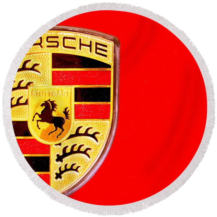 Round Beach Towel featuring the photograph Porsche Logo by Jijo George