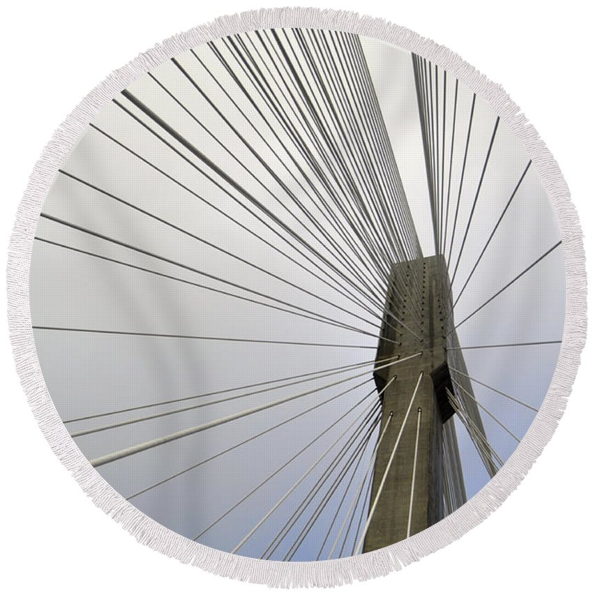 Supports Port Mann Bridge British Columbia Coquitlam Surrey 10-lane Cable-stayed Traffic 2012 Currently Second Longest North America Round Beach Towel featuring the photograph Port Mann Bridge by Pelo Blanco Photo