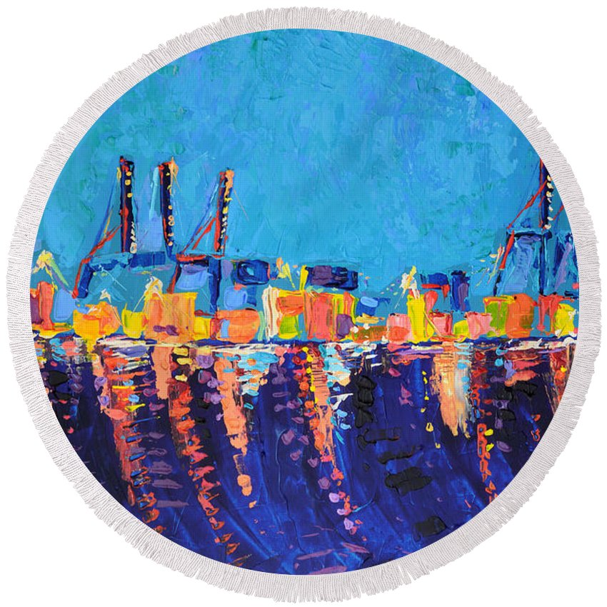 Port Of Malaga Round Beach Towel featuring the painting Port Of Malaga by Adriana Dziuba