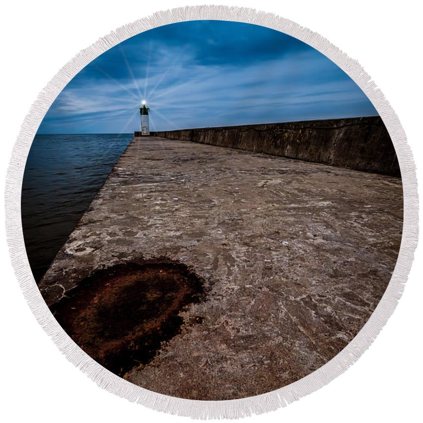 Blue Round Beach Towel featuring the photograph Port Of Newcastle by Roger Monahan