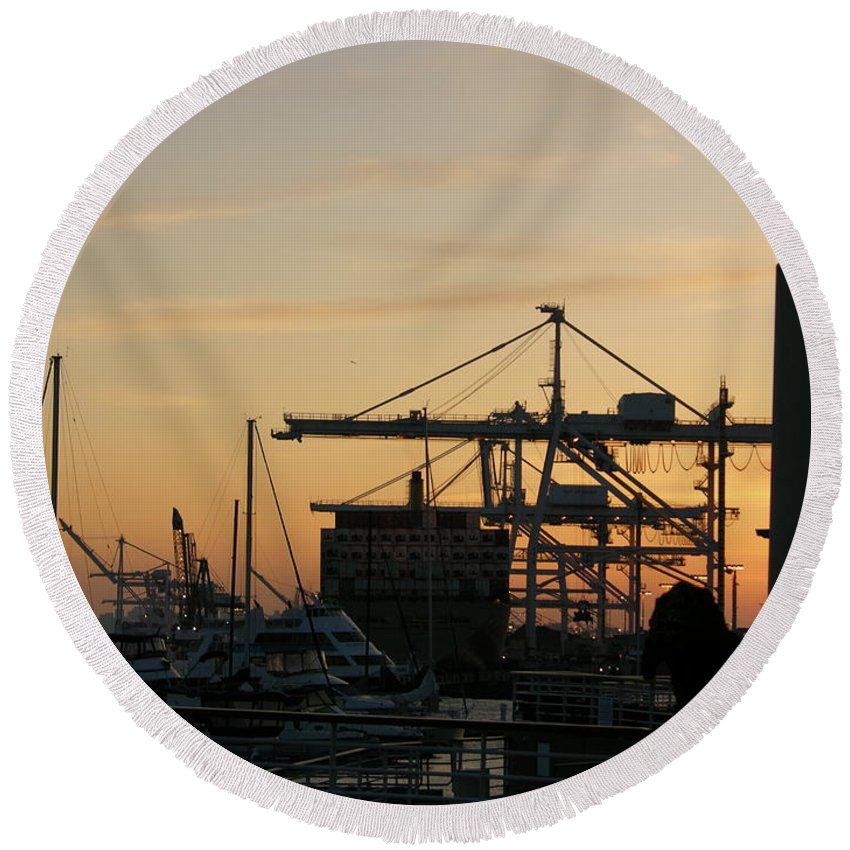 Oakland Round Beach Towel featuring the photograph Port Of Oakland Sunset by Carol Groenen
