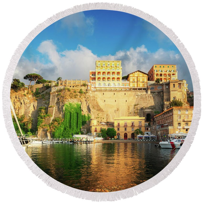 Sorrento Round Beach Towel featuring the photograph Port Of Sorrento, Southern Italy by Anastasy Yarmolovich