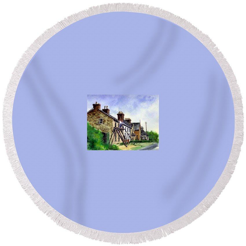 Water Color Round Beach Towel featuring the painting Port Rush Gutter Repair by Jim Gola