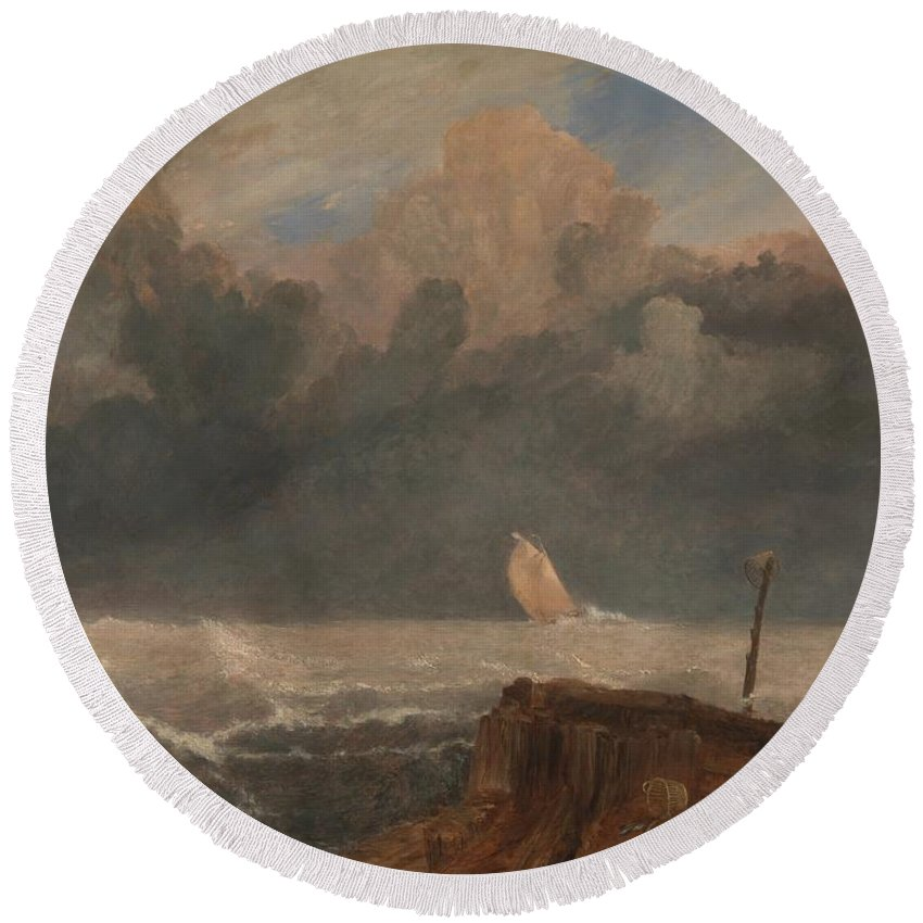 Port Ruysdael Round Beach Towel featuring the painting Port Ruysdael by Grypons Art