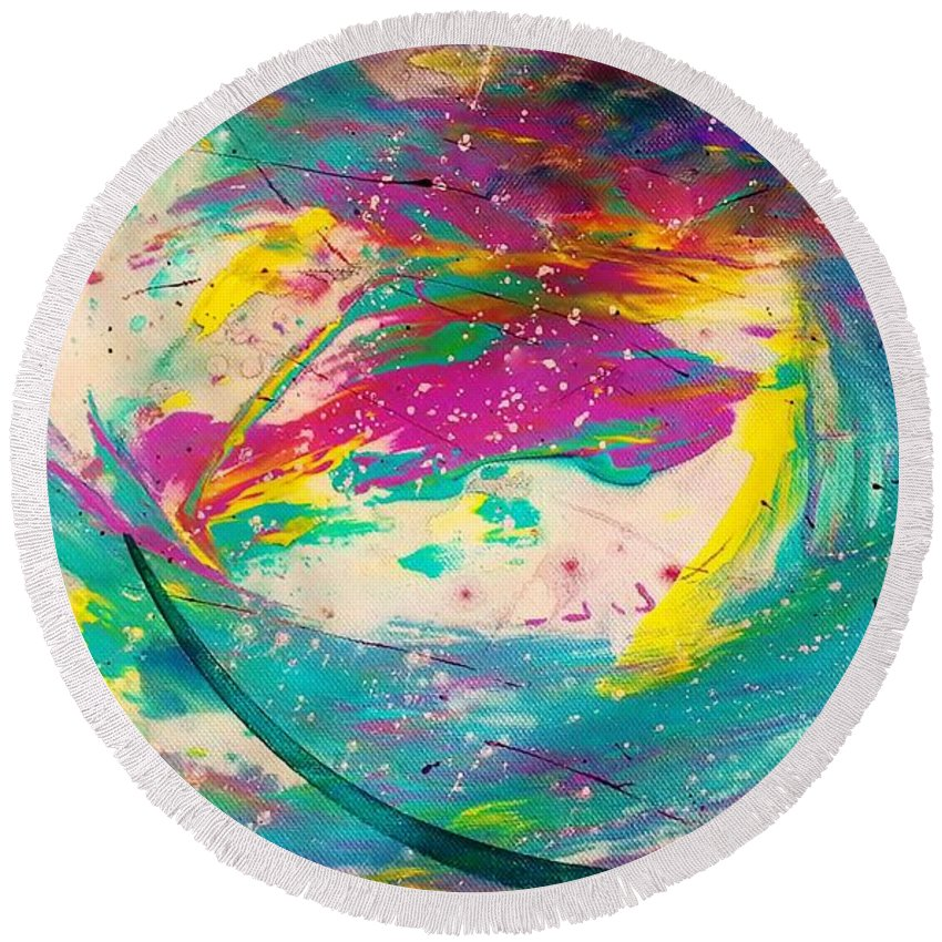 Abstract Round Beach Towel featuring the painting Portal 2 by Jan Pellizzer