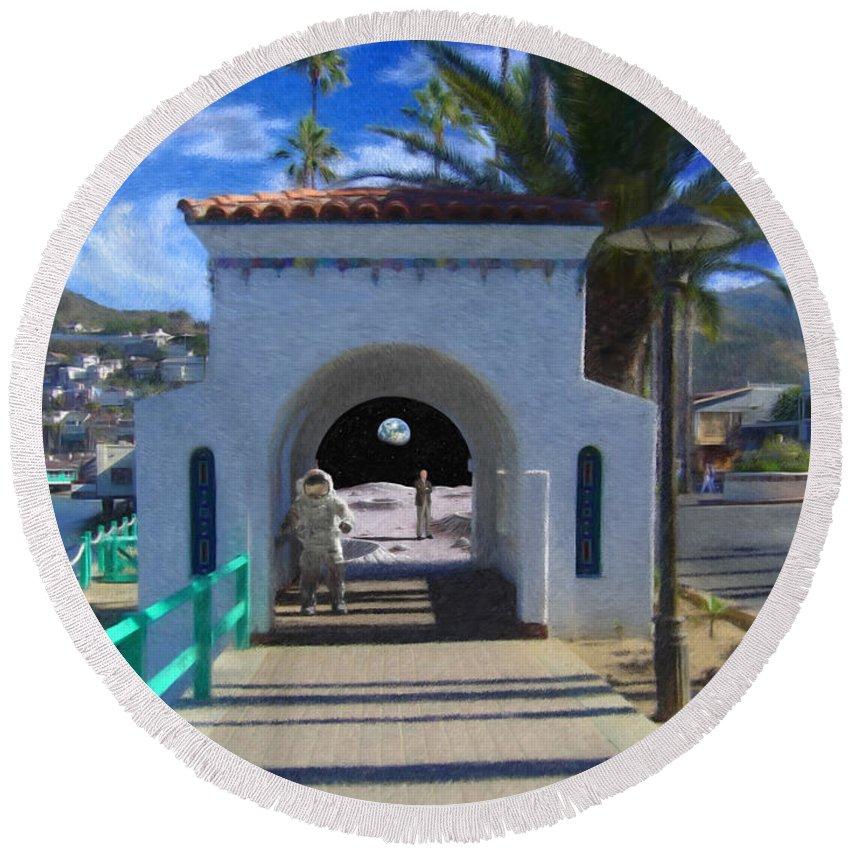 Portal Round Beach Towel featuring the digital art Portal by Snake Jagger