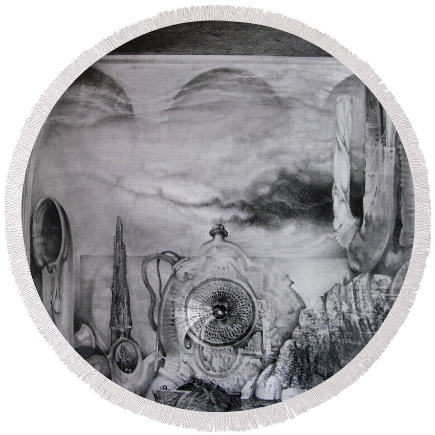 Graphite Drawing Round Beach Towel featuring the drawing Portal To Bogomils Universe Iv by Otto Rapp