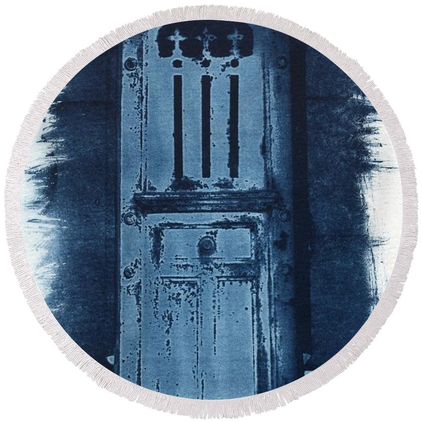 Cyanotype Round Beach Towel featuring the photograph Portals by Jane Linders