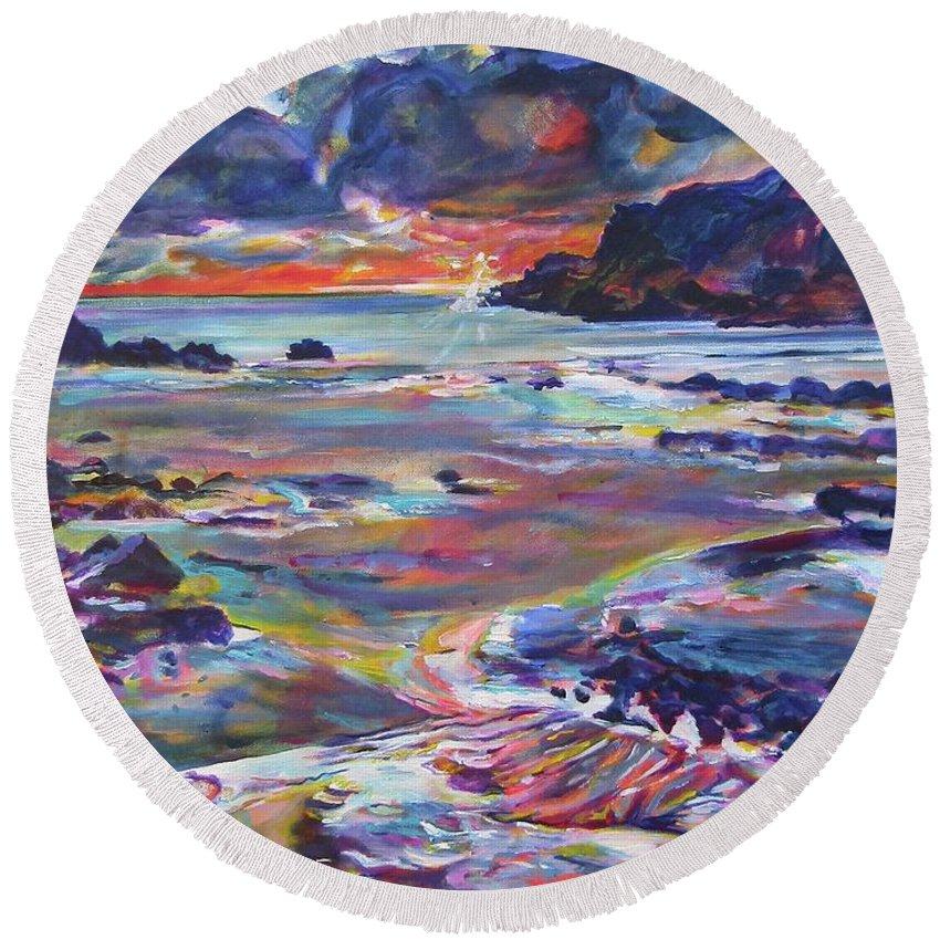 Beach Round Beach Towel featuring the painting Porthdafarch 2 by Karin McCombe Jones