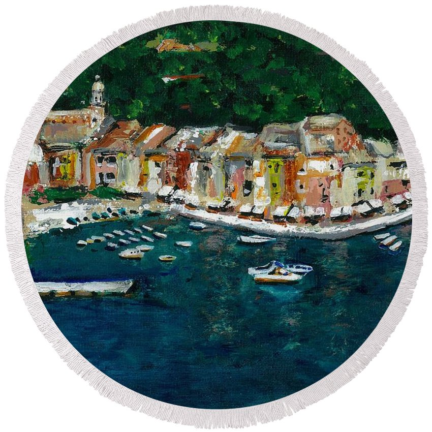 Abstact Italy Round Beach Towel featuring the painting Portifino Italy by Frances Marino