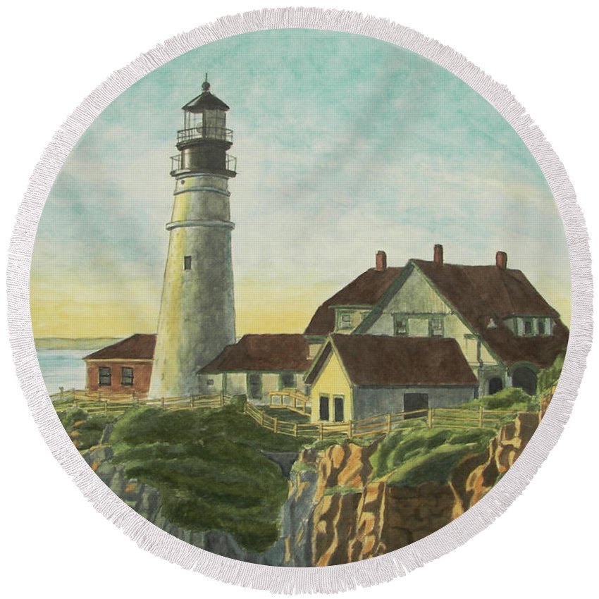 Lighthouse Round Beach Towel featuring the painting Portland Head Light At Sunrise by Dominic White