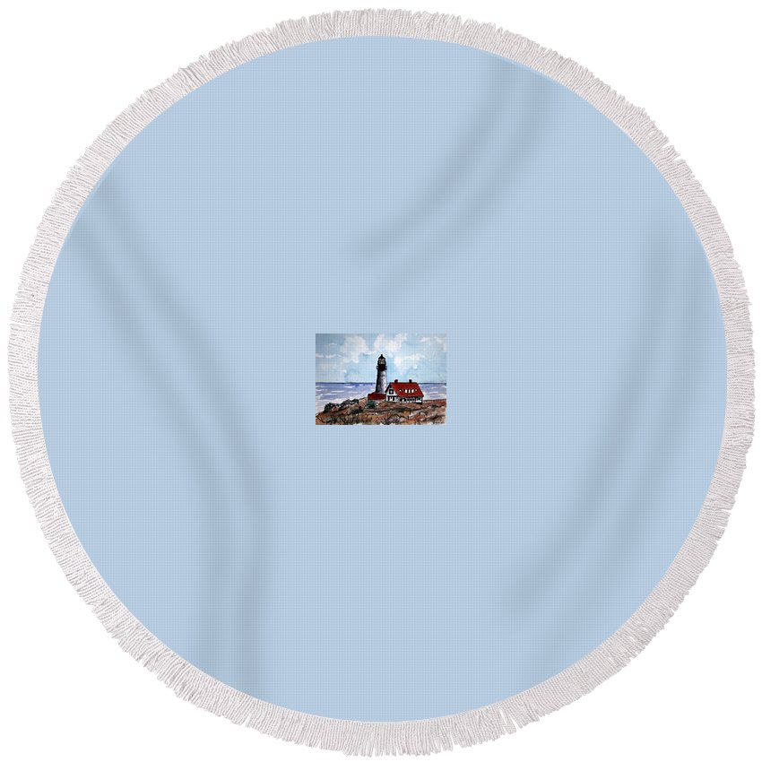 Lighthouse Paintings Round Beach Towel featuring the painting Portland Head Lighthouse by Derek Mccrea