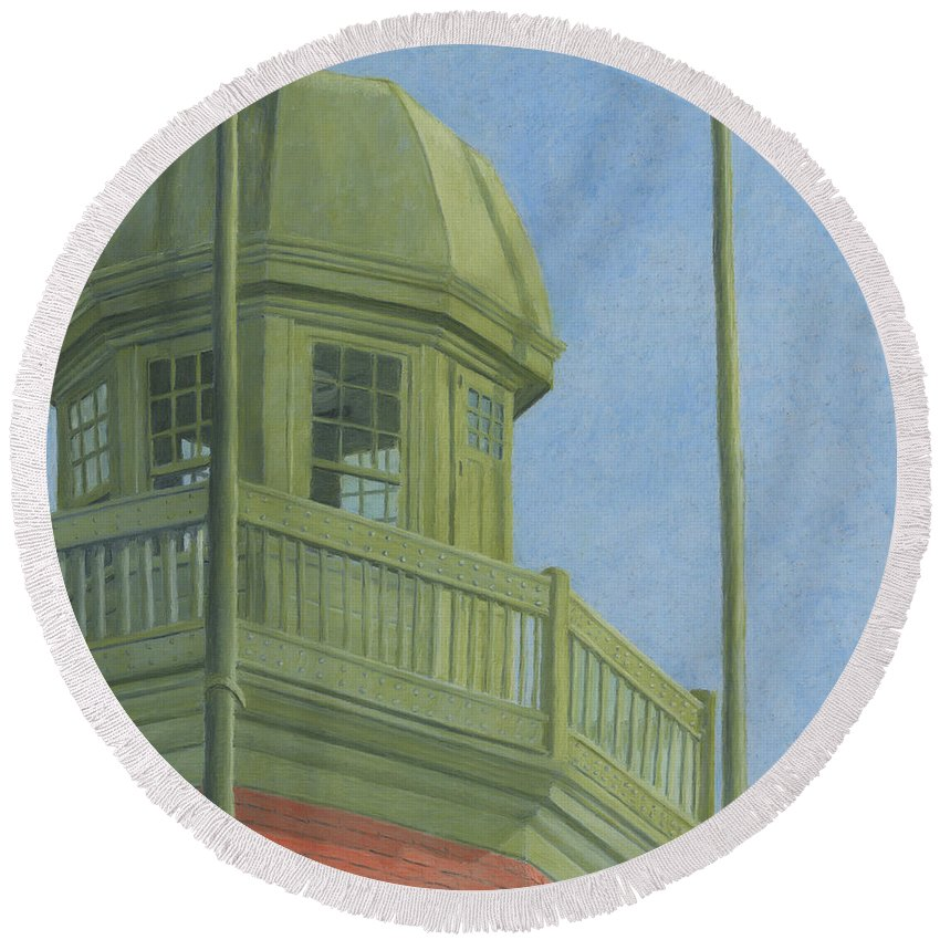 Portland Observatory Round Beach Towel featuring the drawing Portland Observatory In Portland, Maine by Dominic White