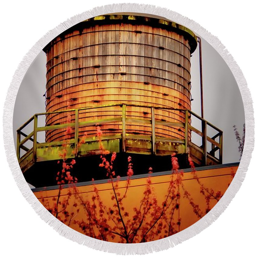 Water Tower Round Beach Towel featuring the photograph Portland Water Tower IIi by Albert Seger