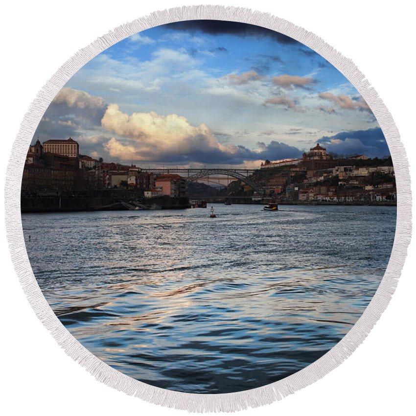 Porto Round Beach Towel featuring the photograph Porto And Vila Nova De Gaia River View by Artur Bogacki