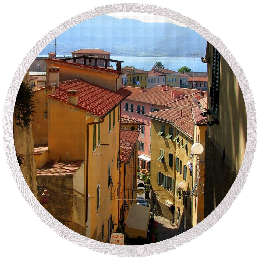 Portoferraio Round Beach Towel featuring the photograph Portoferraio Elba by Carla Parris