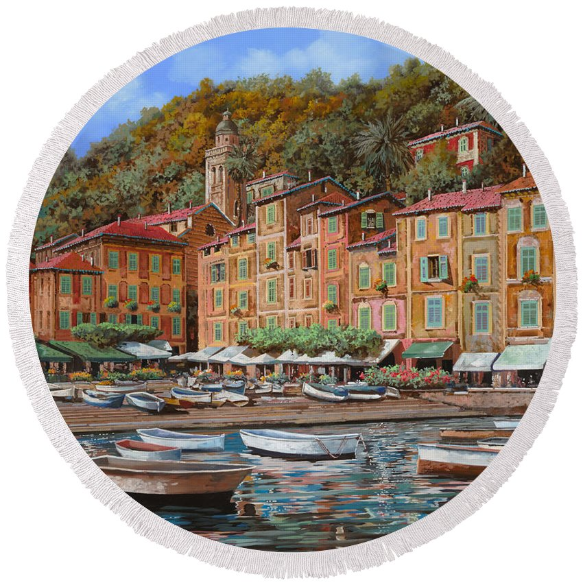 Portofino Round Beach Towel featuring the painting Portofino-la Piazzetta E Le Barche by Guido Borelli