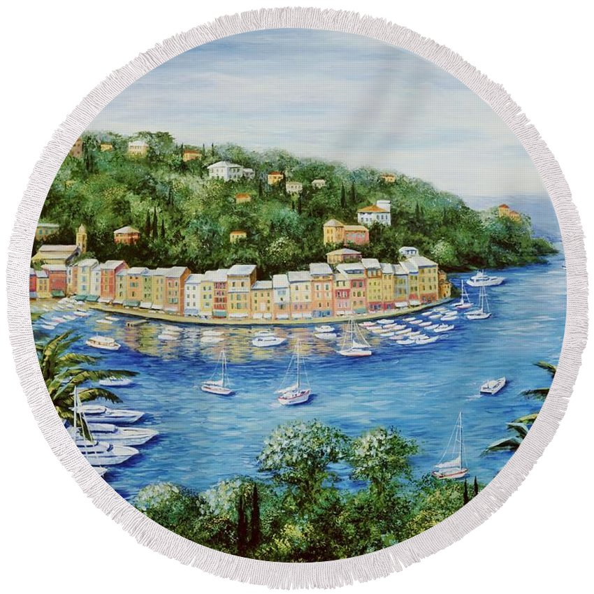 European Round Beach Towel featuring the painting Portofino Majestic Panoramic View by Marilyn Dunlap
