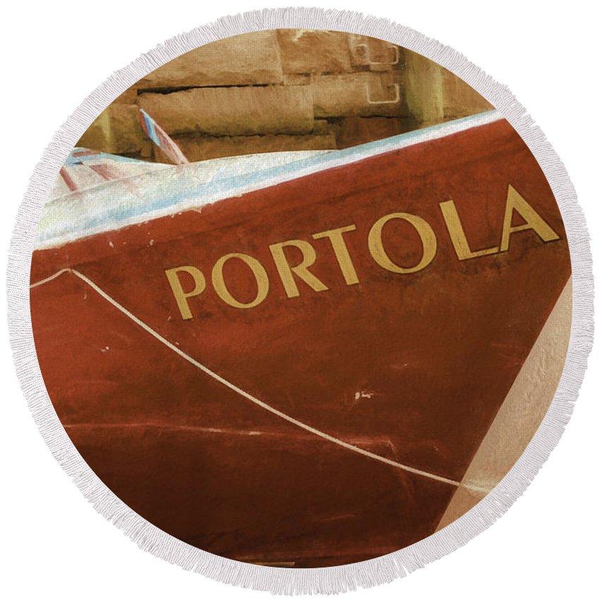 Boat Round Beach Towel featuring the photograph Portola by Joe Geraci