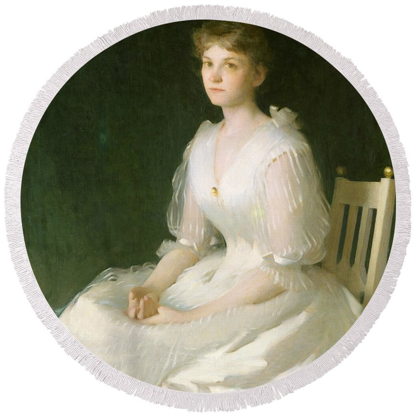 American Artist Round Beach Towel featuring the painting Portrait In White by Frank Weston Benson