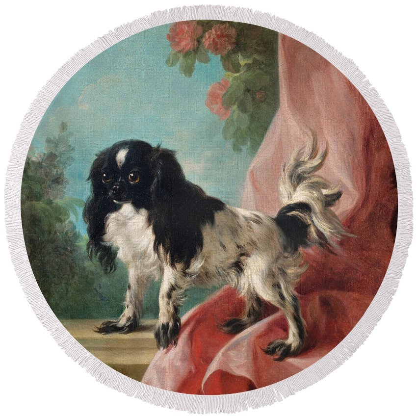 Jean-baptiste Huet Round Beach Towel featuring the painting Portrait Of A Cavalier King Charles Spaniel by Jean-Baptiste Huet
