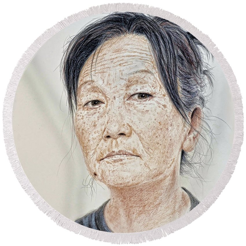Portrait Round Beach Towel featuring the mixed media Portrait Of A Chinese Woman With A Mole On Her Chin by Jim Fitzpatrick