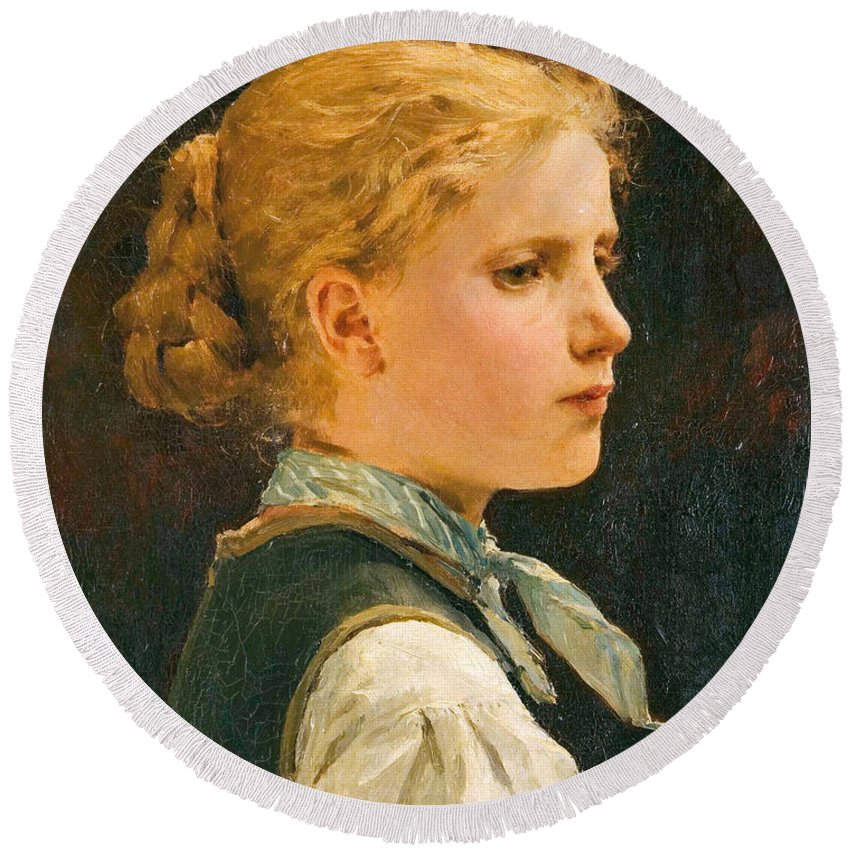 Albert Anker Round Beach Towel featuring the painting Portrait Of A Girl by Albert Anker