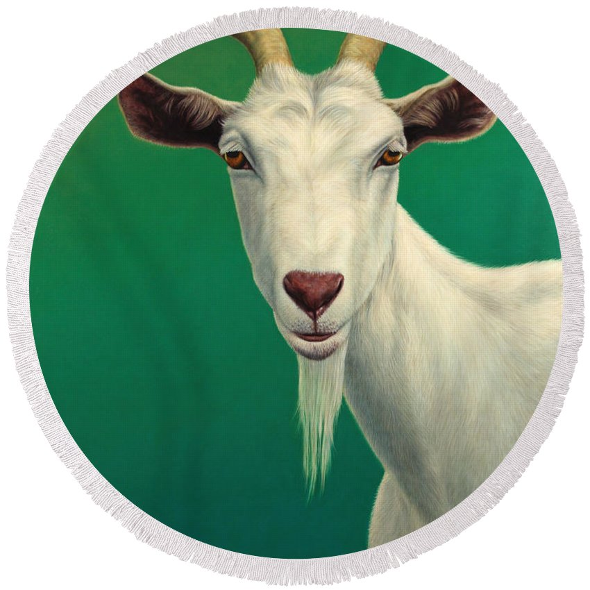 Goat Round Beach Towel featuring the painting Portrait Of A Goat by James W Johnson