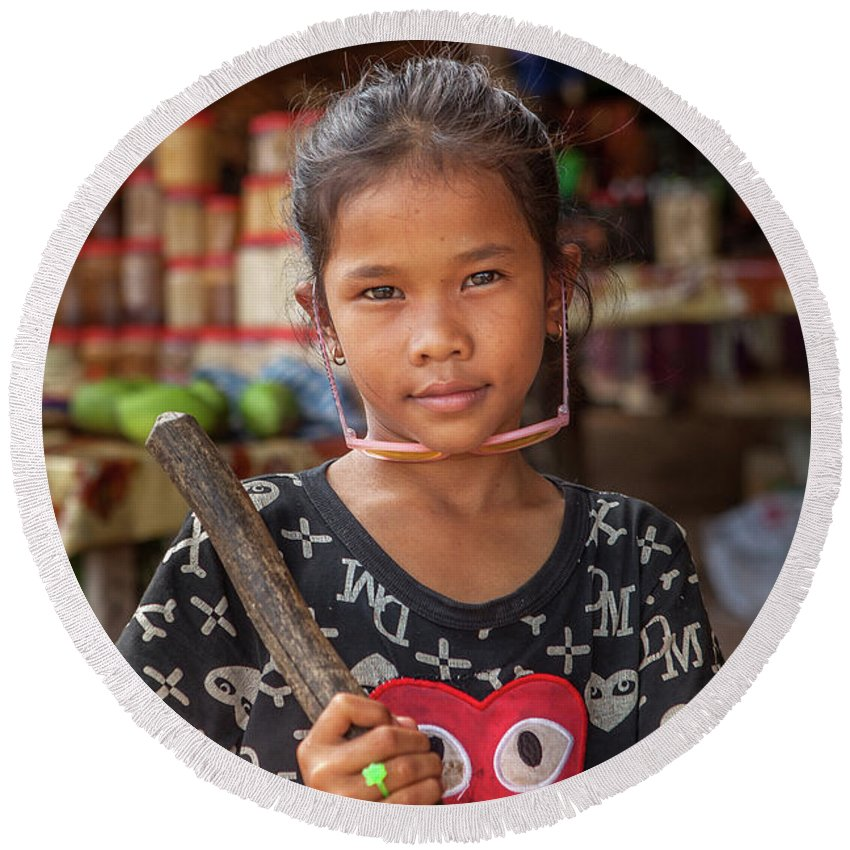 Cambodia Round Beach Towel featuring the photograph Portrait Of A Khmer Girl - Cambodia by Art Phaneuf