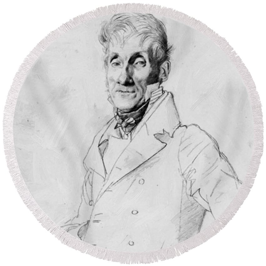 Portrait Round Beach Towel featuring the painting Portrait Of A Man Possible Edma Bochet by Ingres Jean Auguste Dominique