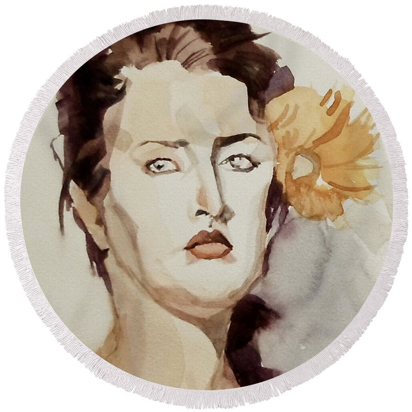 Portrait Round Beach Towel featuring the painting Portrait Of A Young Woman With Flower by Greta Corens