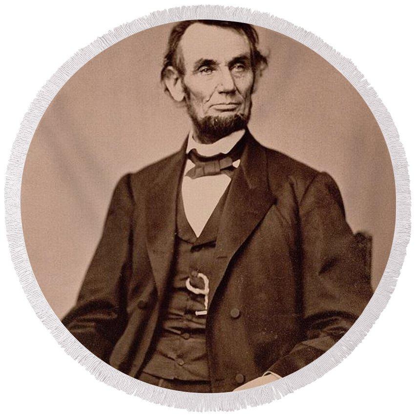 Portrait Of Abraham Lincoln (1809-65) (b/w Photo) By Mathew Brady (1823-96) Round Beach Towel featuring the photograph Portrait Of Abraham Lincoln by Mathew Brady